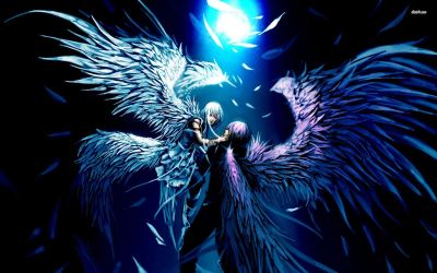 Angel and Demon Lovers Anime Desktop background | awesome | Pinterest | Desktop backgrounds ...