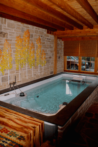 A beautiful indoor Swim Spa installed in a converted ...