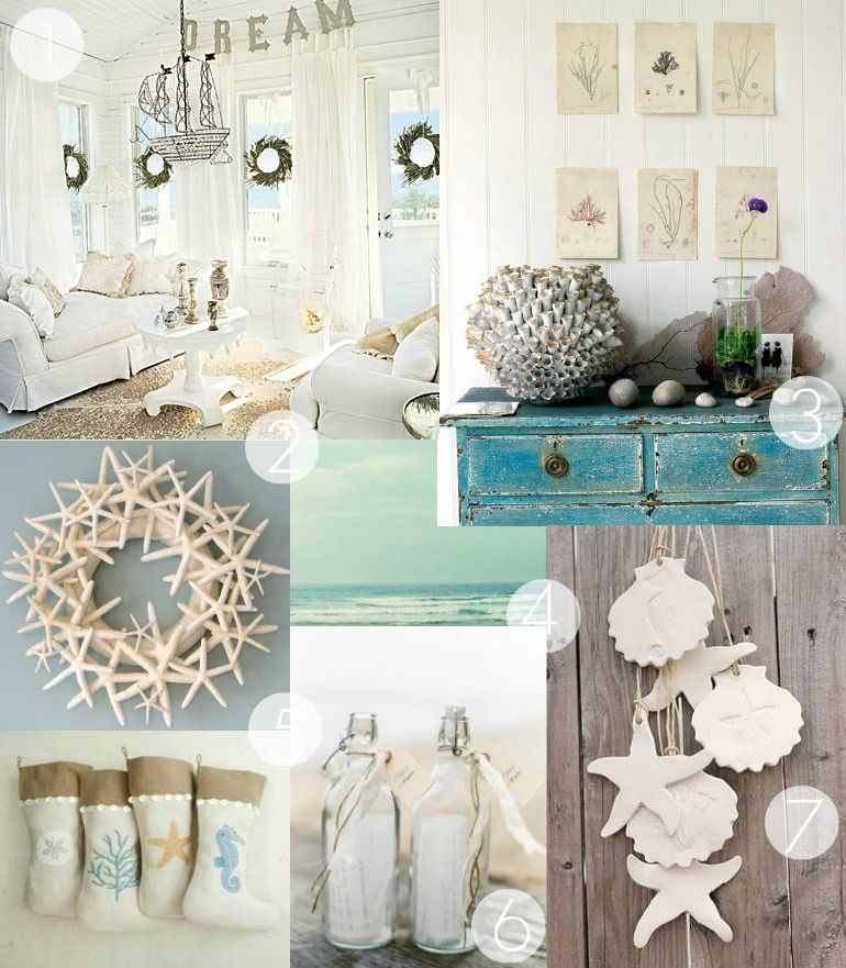 Summer Decorating ~ Bringing the Ocean Home With Shells Coastal - coastal christmas decorations