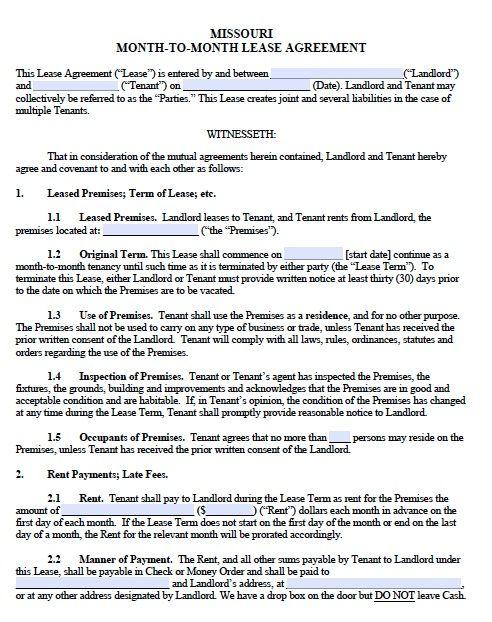 Printable Sample Monthly Rental Agreement Form Real Estate Forms - printable lease agreement sample