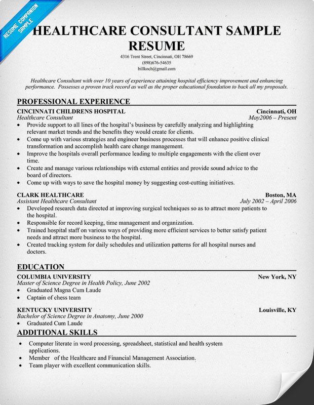 resume objective examples healthcare consultant