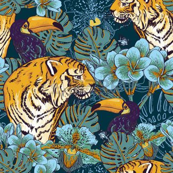 African Animal Wallpaper Border Jungle Tropical Seamless Background With Exotic Flowers