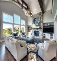 Living Room, Stone Fireplace, Floor to Ceiling Fireplace ...