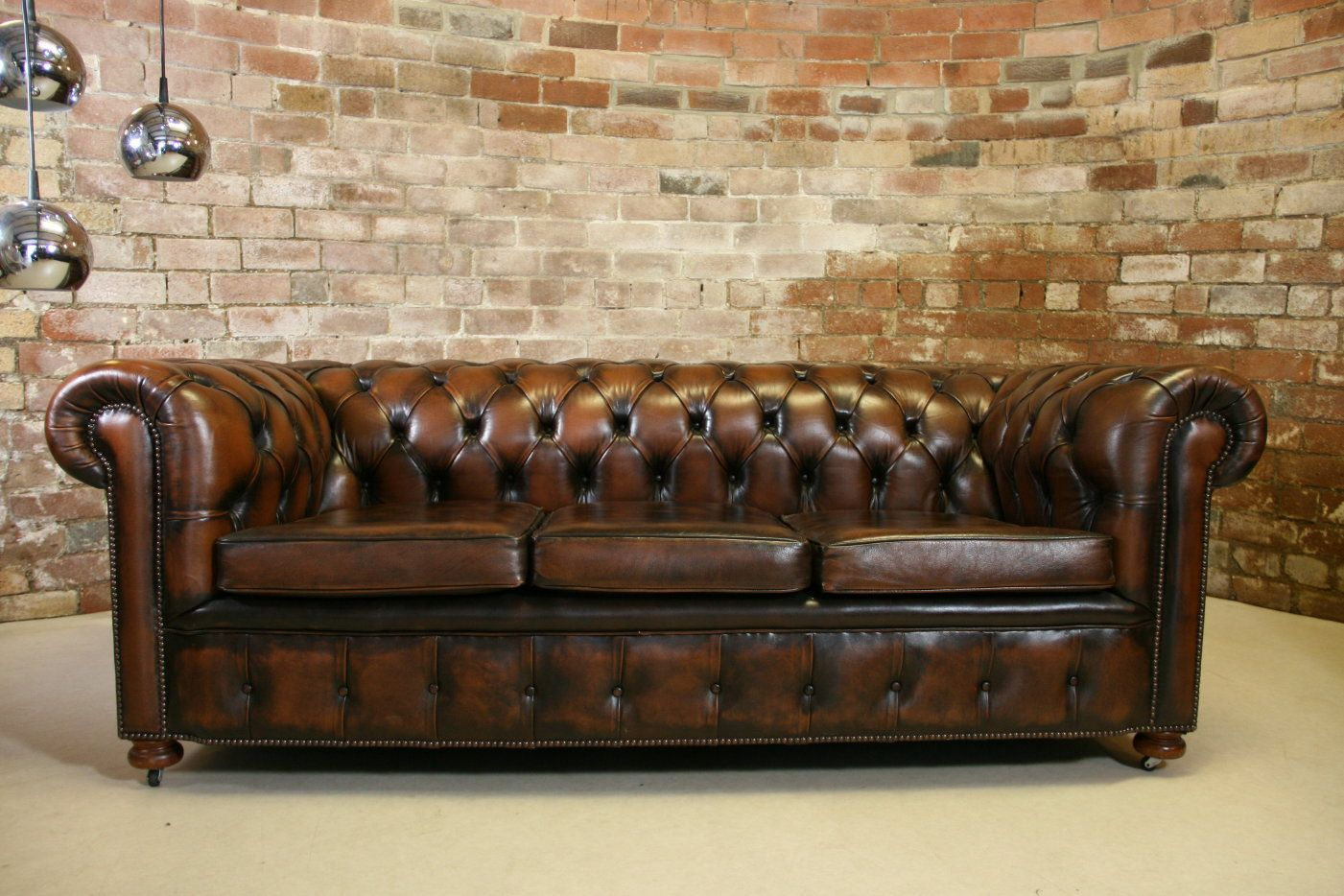 Sofa Couch Or Chesterfield Vintage Chesterfield Antique Brown Leather 3 Seater Sofa Retro