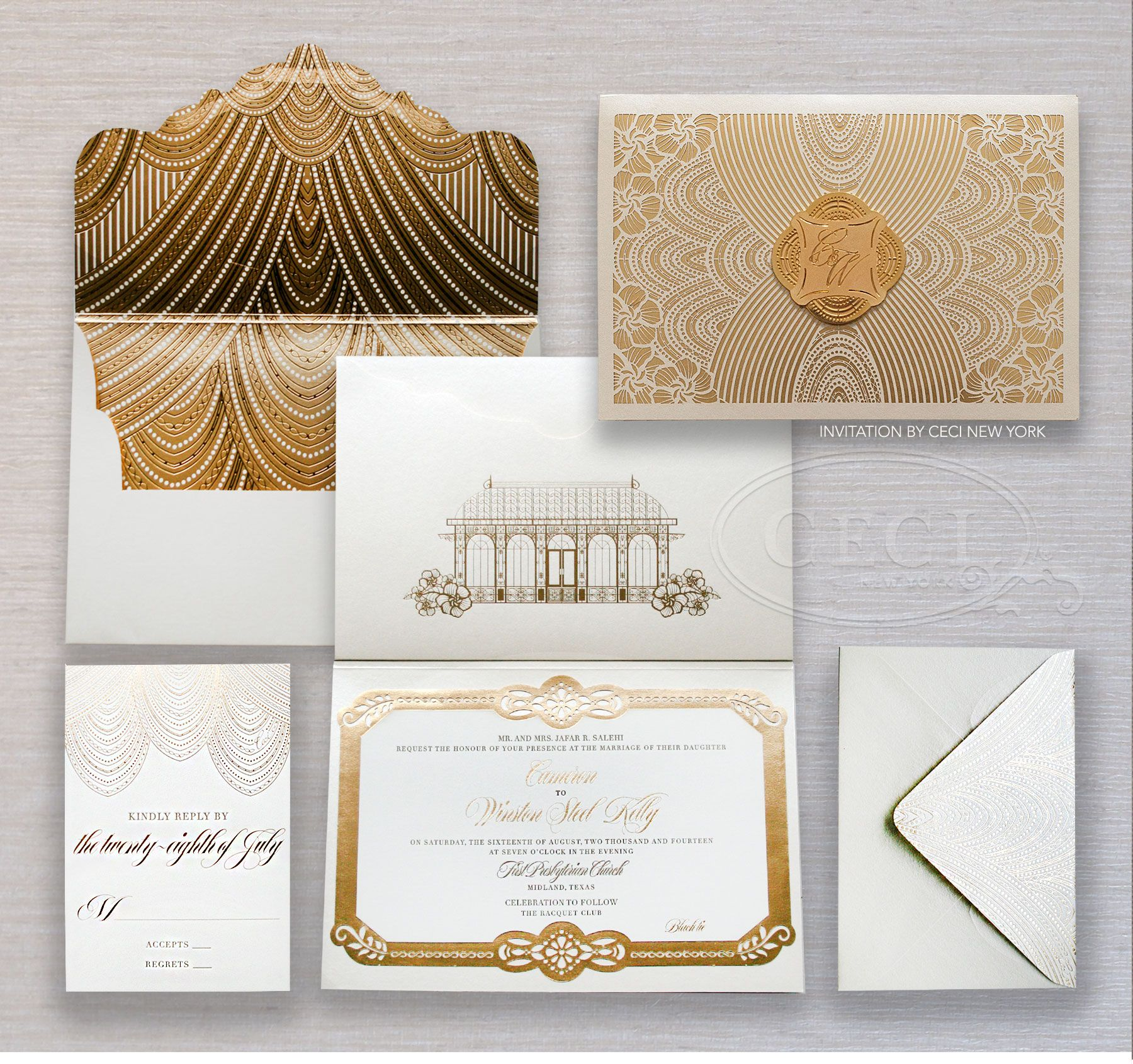 Cheap White Card Luxury Wedding Invitations By Ceci New York Wedding