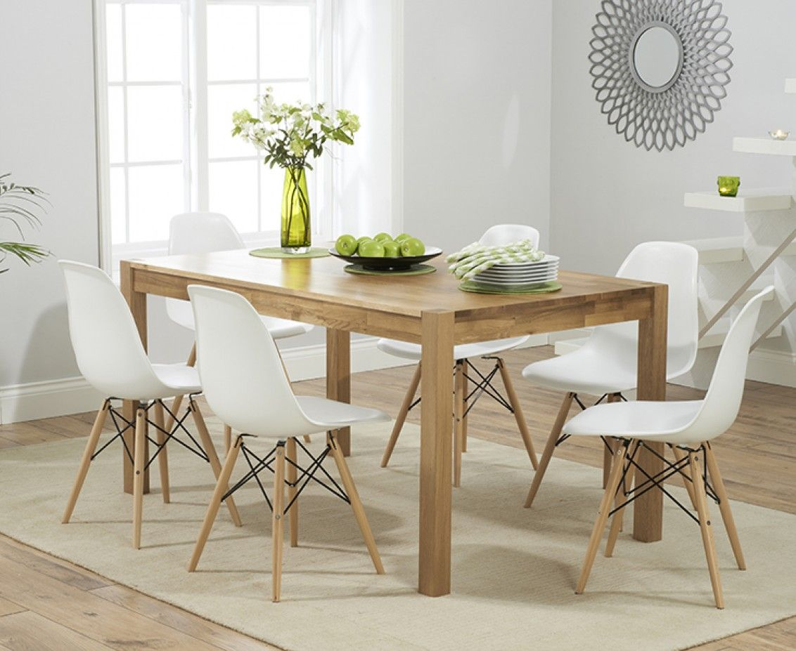 Eames Style Dining Table And Chairs Oxford 150cm Solid Oak Dining Table With Charles Eames