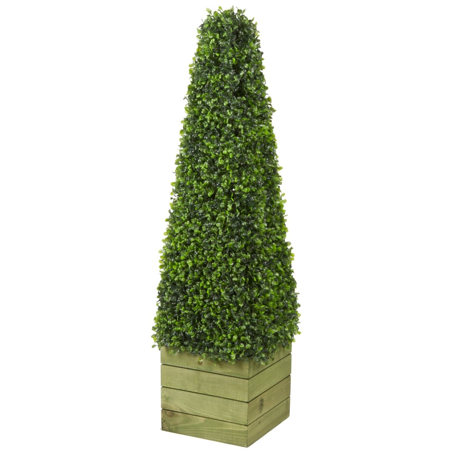 Buy Artificial Plants Buy Boxwood Pyramid On Wood Pot Artificial Plants The