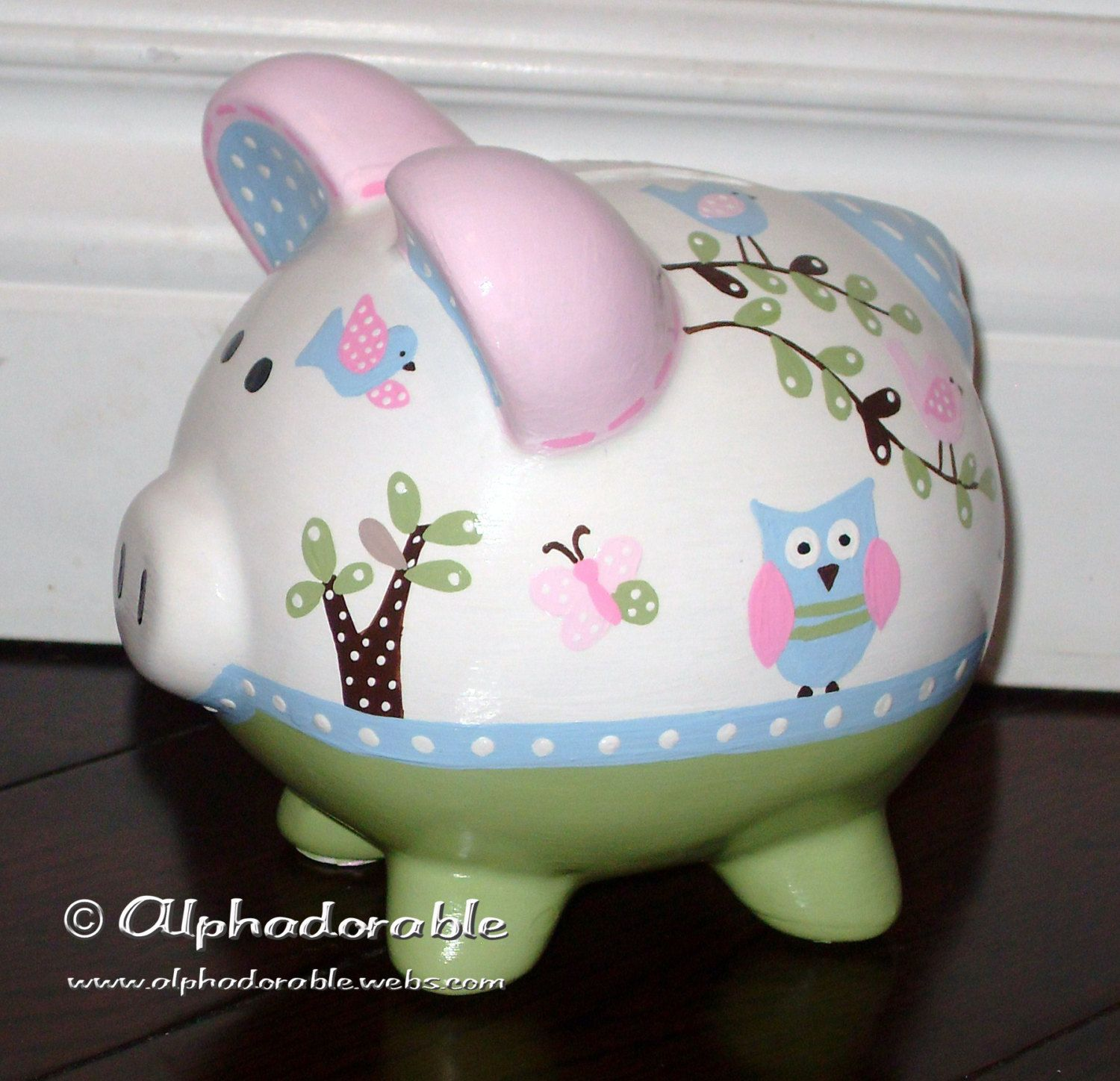 Piggy Bank Idea Personalized Piggy Bank Artisan Hand Painted Ceramic Bank