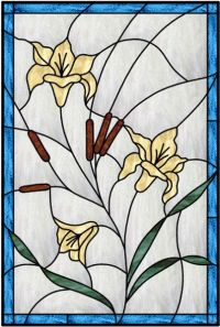 Vertical Stained Glass Window With Blue Outer Border And ...