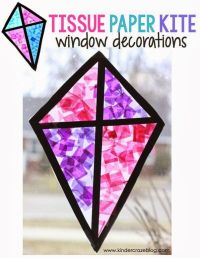 """kite """"stained glass"""" window craft made with tissue paper ..."""