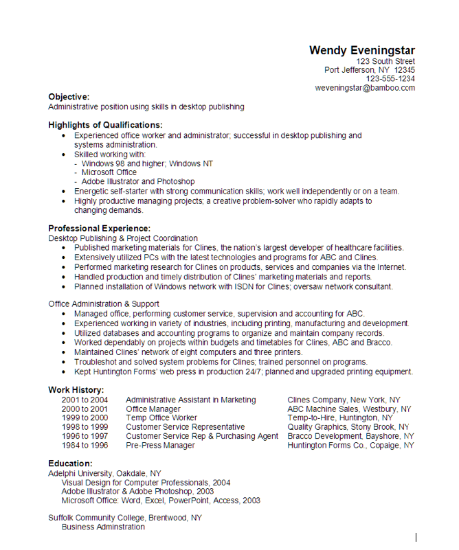 desktop publisher resume example