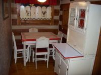 6 PC Vintage Porcelain Enamel Top Table 4 Chairs Matching ...