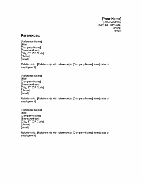Reference Letter Template 42 Free Sample Example Resume Reference Template Microsoft Word Google Search