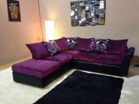 Oscar Purple and Black Corner Sofa with Floral Pattern and ...