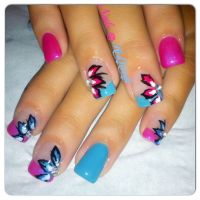Pink and blue gel nails with flowers | Nails | Pinterest ...