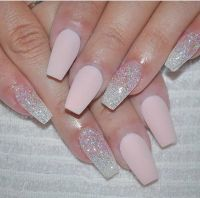 Cute pink matte nails with glitter accents | // nails ...