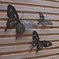 Metal Butterfly Garden Wall Art Set Of Three | Garden wall ...