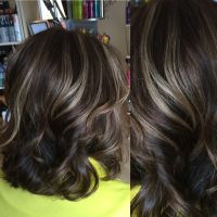 Medium brown hair color with light beige highlights on the ...