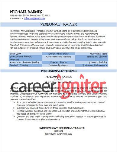 Personal Trainer Resume Sample Resume Pinterest Personal trainer - fitness trainer resume