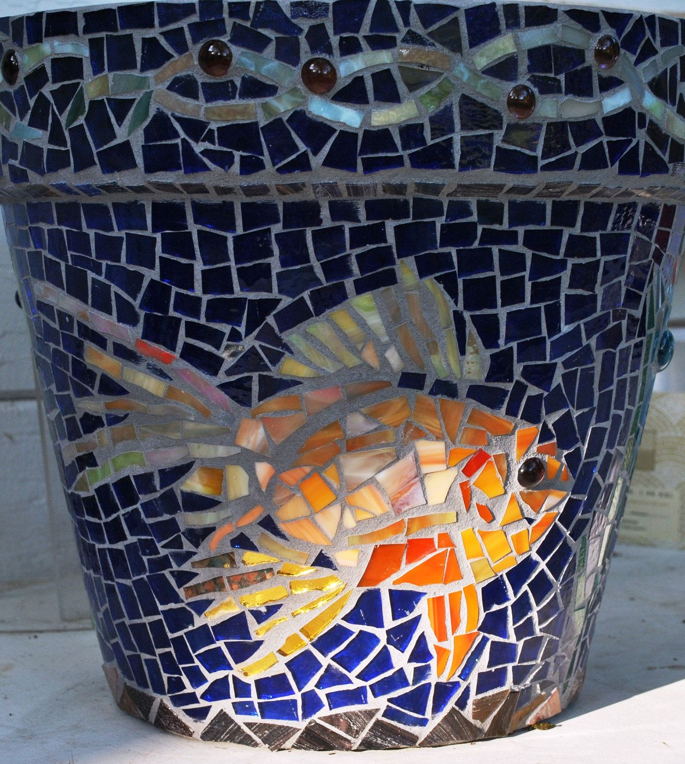 Planters For Sale Online Mosaic Koi Fish Planter Stained Glass In Blue And Gold