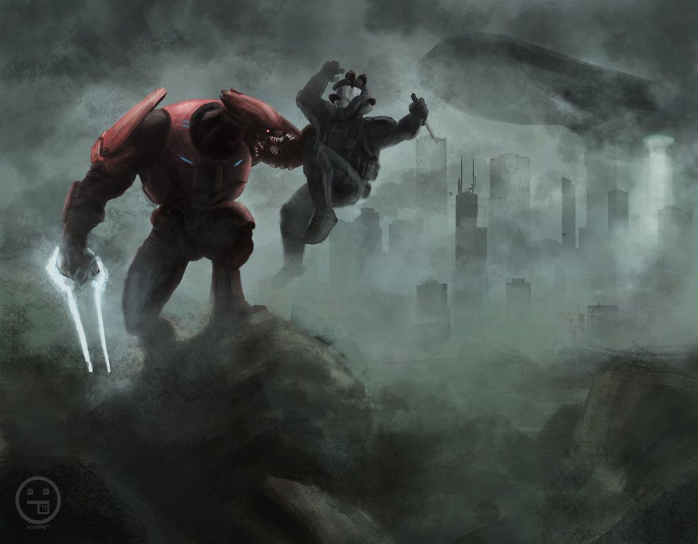 Halo Wallpaper Fall Of Reach An Elite Executes An Odst Halo Pinterest Master