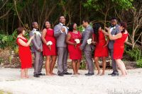 Red & grey bridal party, red lace bridesmaids dresses and ...