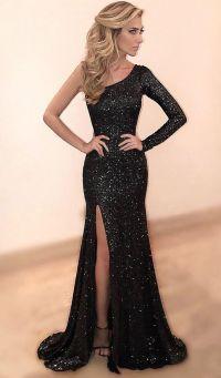 Sheath One Shoulder High Split Black Sequined Prom Dress ...