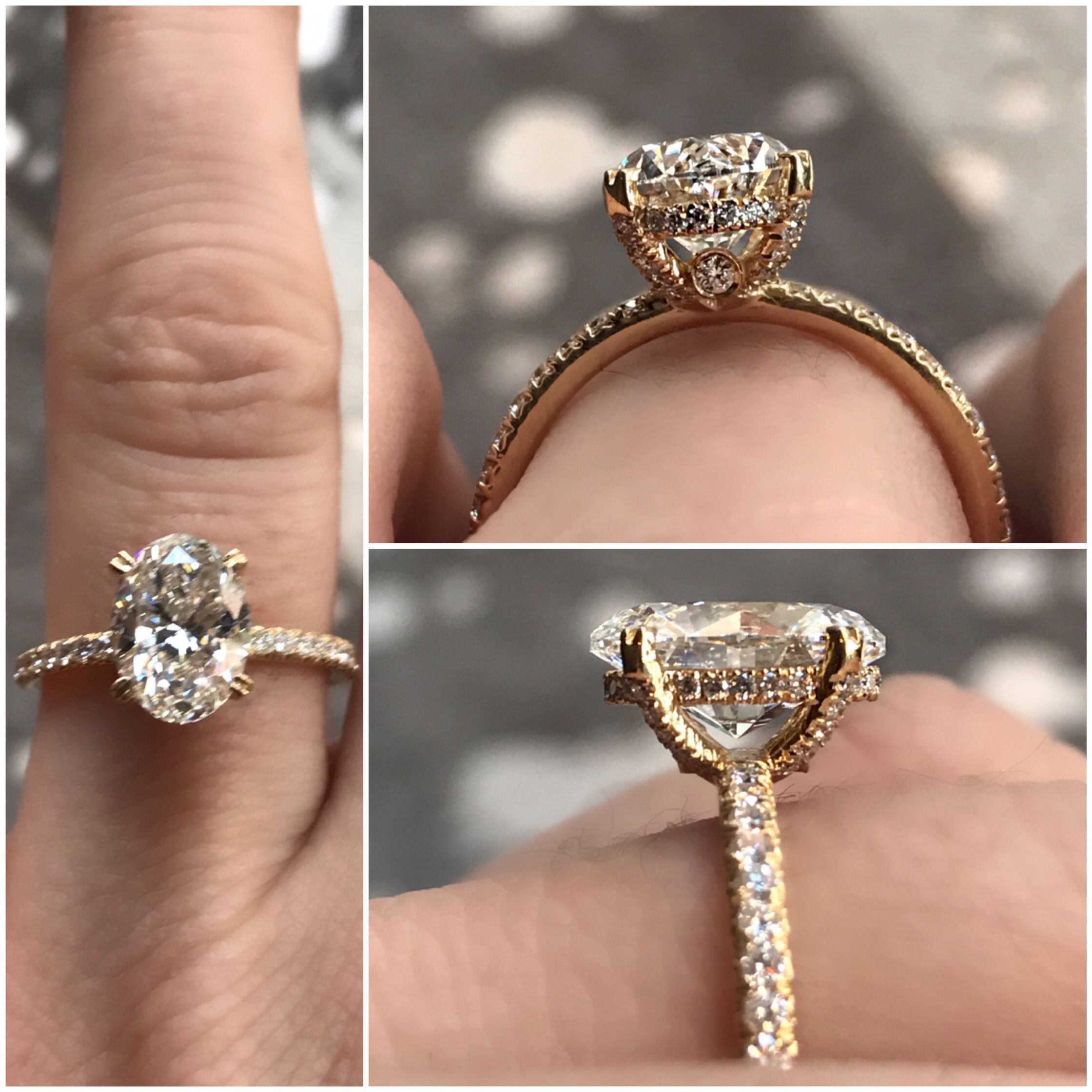 Oval diamond engagement ring vintage inspired hand crafted made in new york