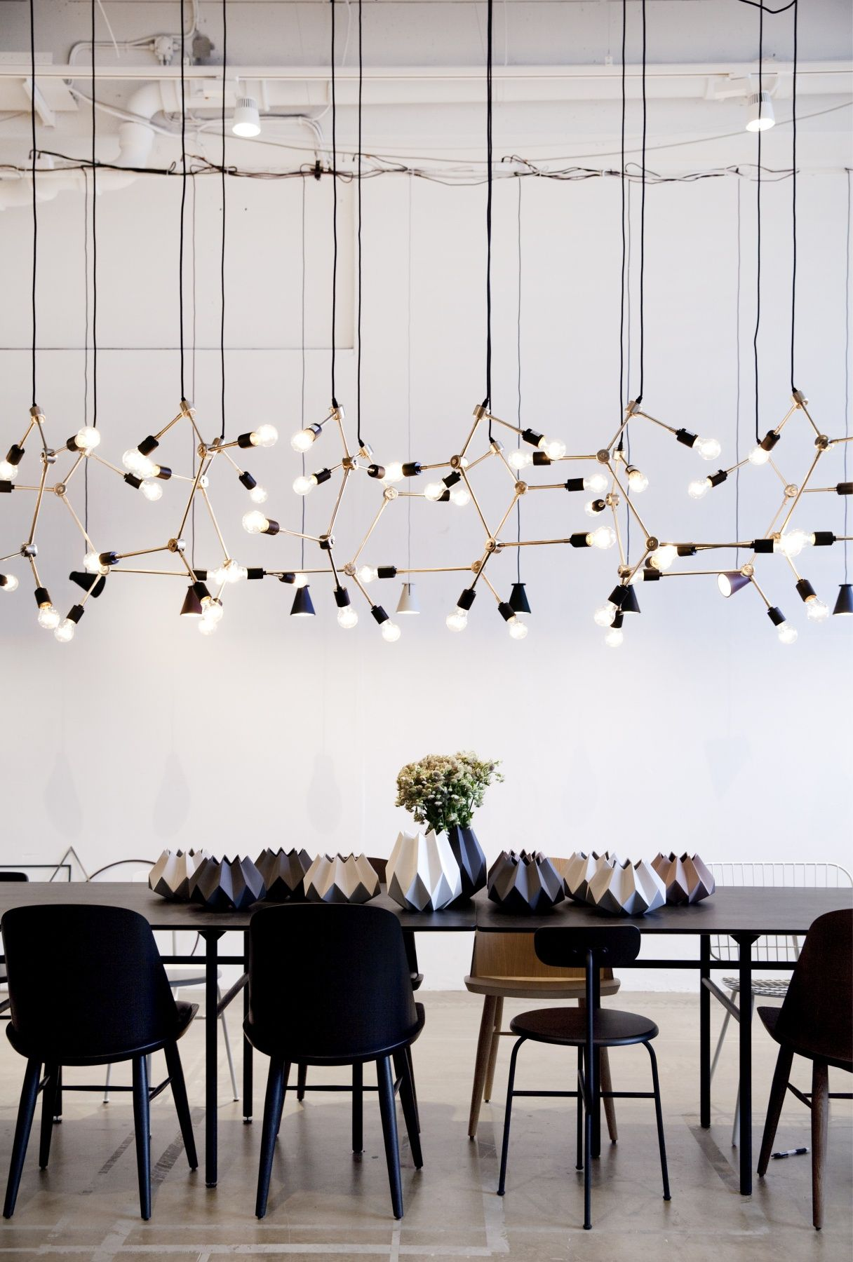 Dinner Table Lighting Ideas Modern Lighting Installation With Black Table And Chairs