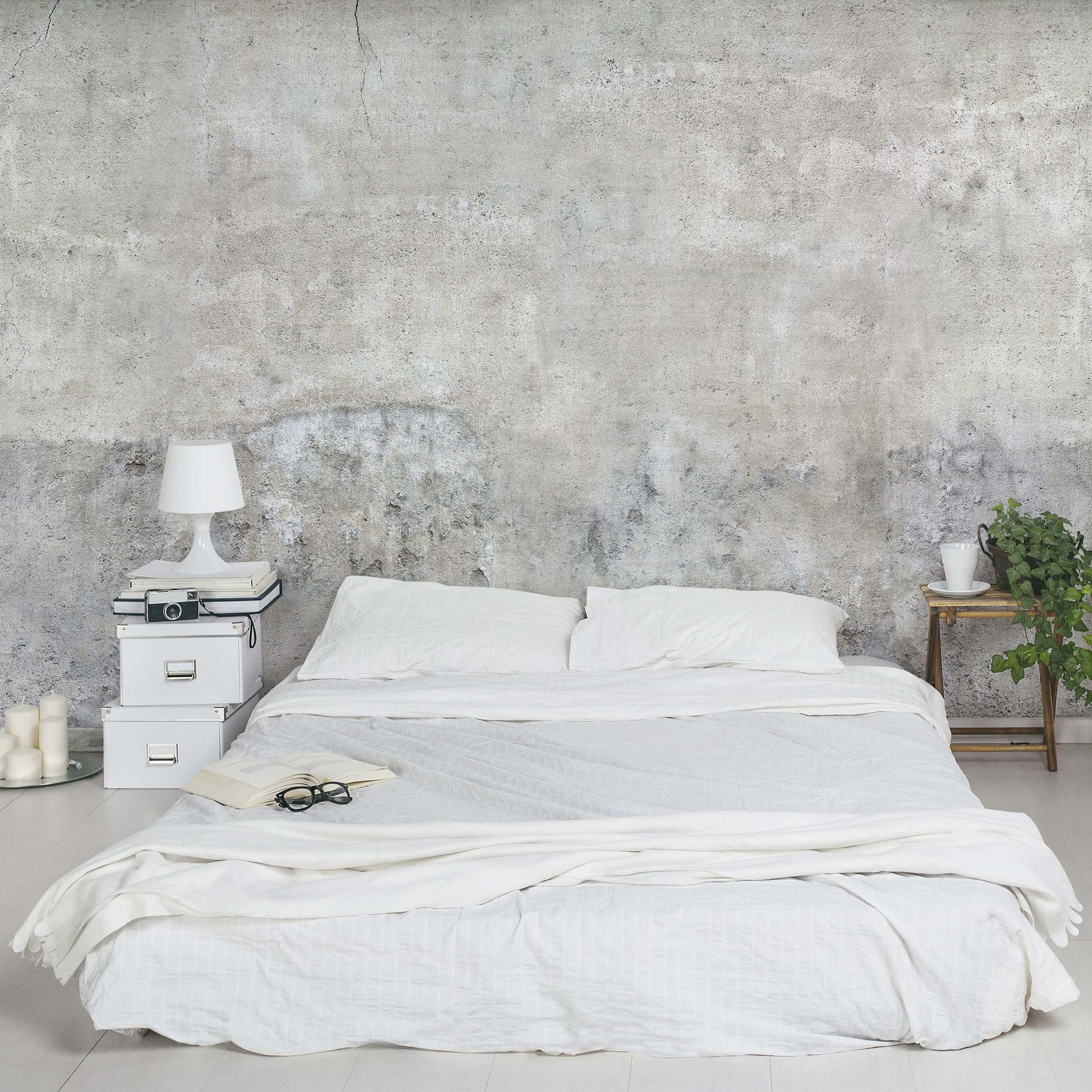 Schlafzimmer Wandgestaltung Stein Quotindustrial Style Quot Bedroom Concrete Wallpaper Int