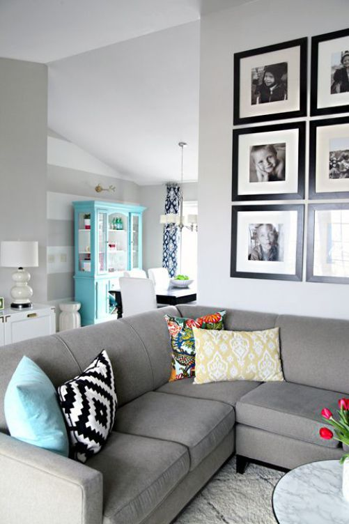 3 Simple Ways to Style Cushions on a Sectional (or Sofa) Tossed - gray living room walls