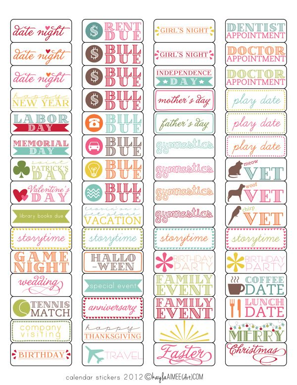 Free template + tutorial Calendar Stickers (magnetic and sticky - birthday planner template