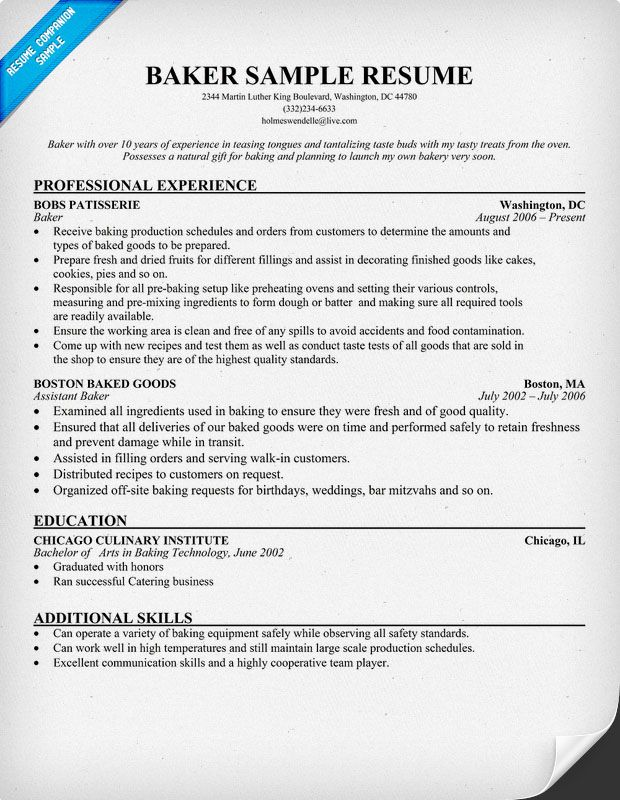 Attractive Resume Objective Sample For Career Change Baker Resume Resumecompanion Resume Samples