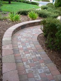 paver walkway with wall - Google Search | Ideas for ...
