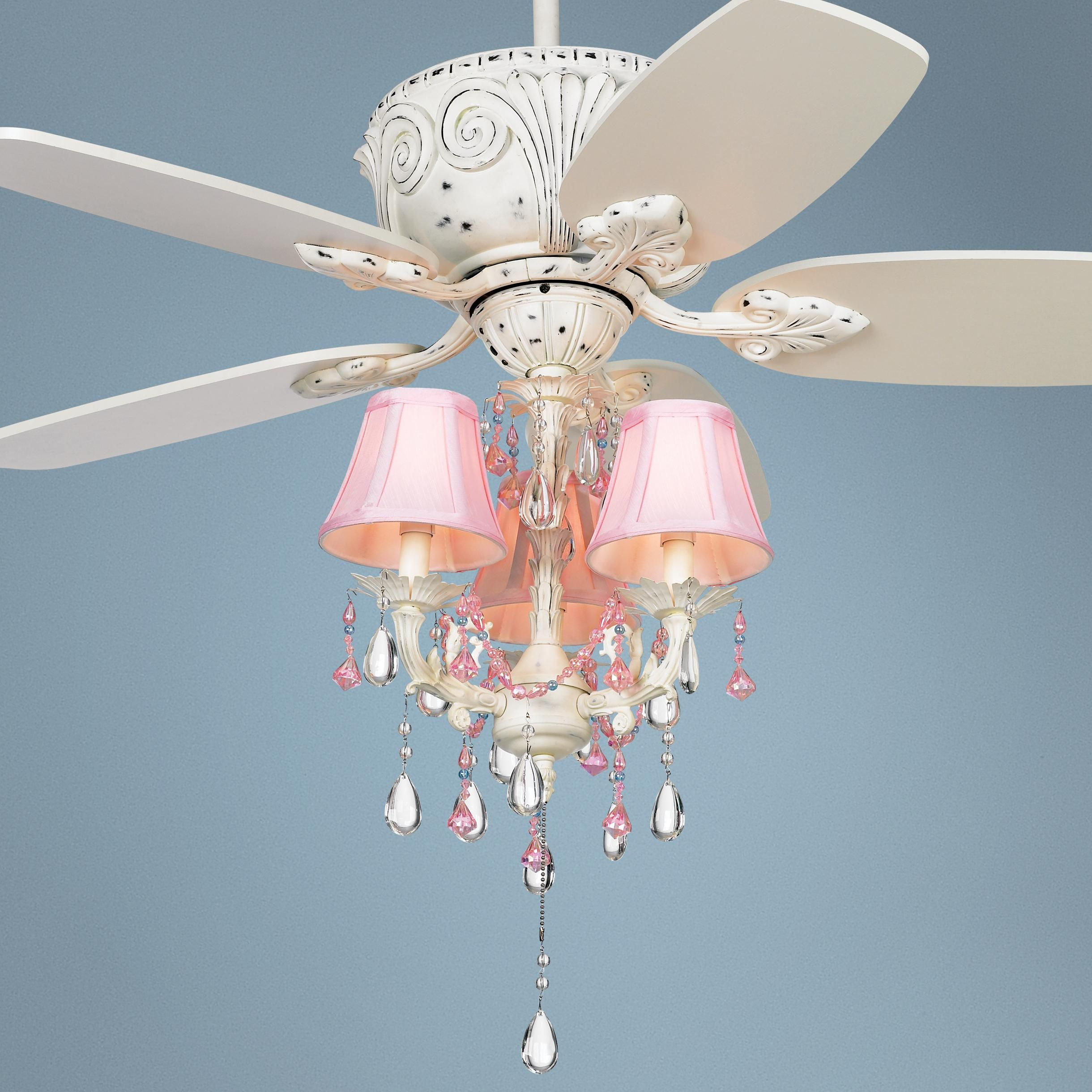 Pretty Ceiling Fans With Lights 44 Quot Casa Deville Pretty In Pink Pull Chain Ceiling Fan