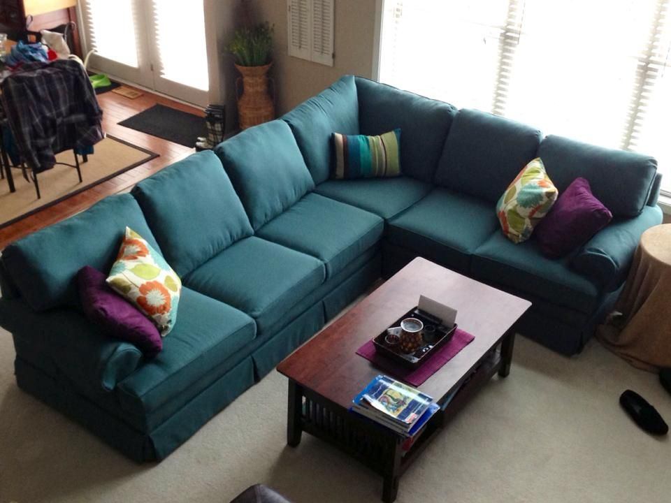 Sectional Sleeper Sofa Ikea Reupholstered Teal Sectional Couch | Home Decor