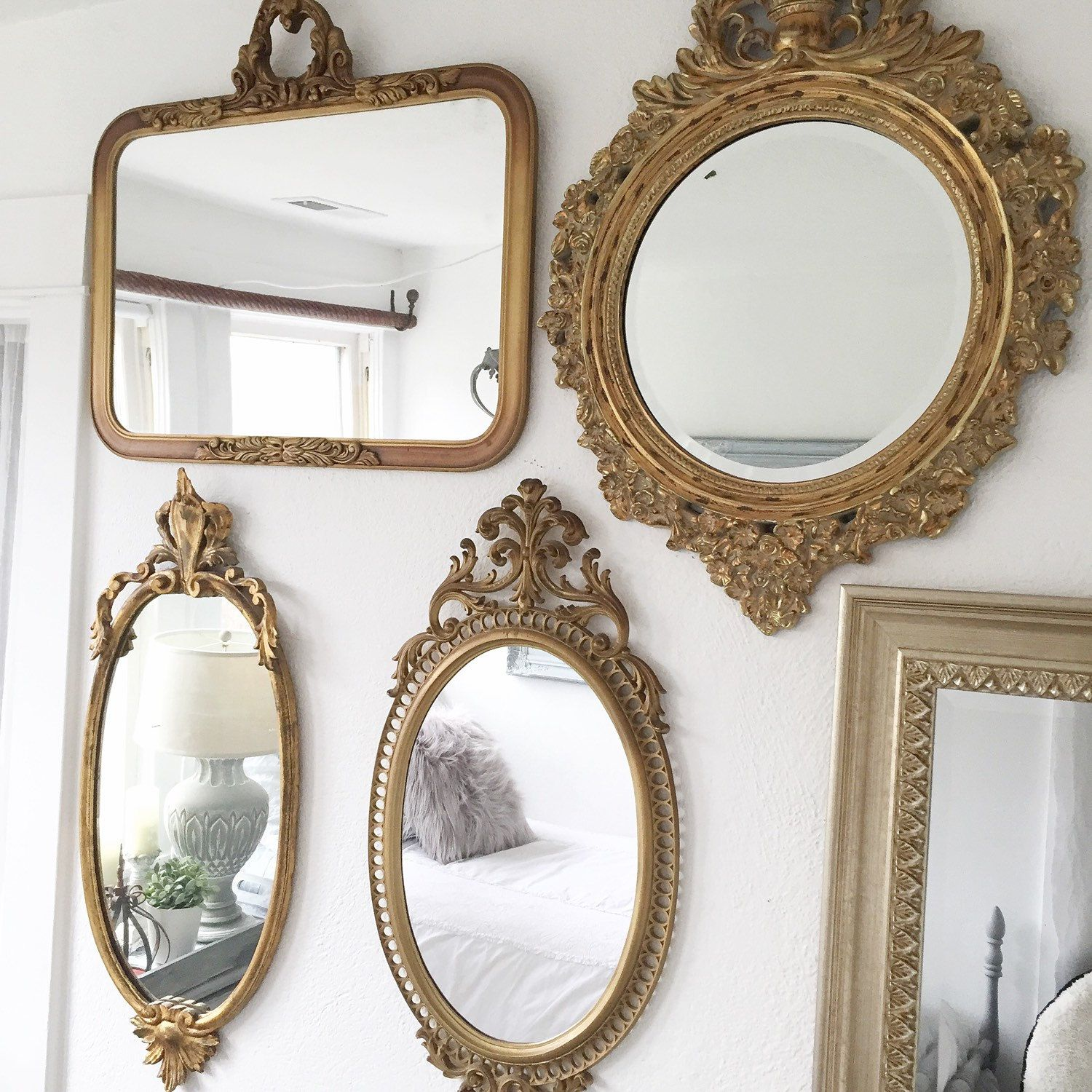 Small Gold Mirror Set Vintage Gold Mirror Gallery Wall Home Decor Pinterest