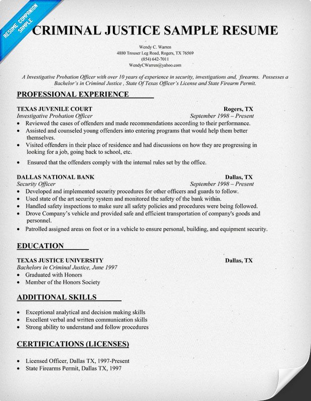 Criminal Justice Resume Sample - #Law (resumecompanion - sample law student resume