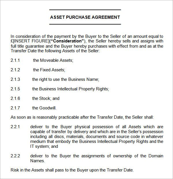 asset purchase agreement sample Agreement Pinterest - asset purchase agreement