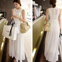 Elegant long white/black floor length sleeveless chiffon ...