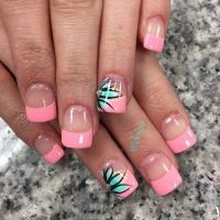 Hot Pink French Nails With Tiffany Blue Flowers and Neon ...