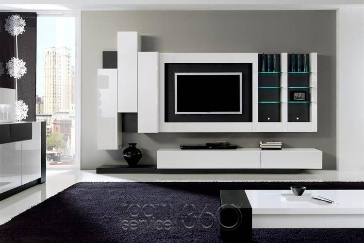 entertainment center with floating cabinets but with symmetrical - designer wall unit