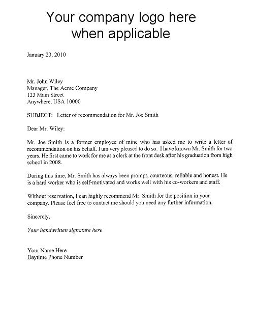 letter of recommendation template Recommendation Letter - recommendation letter template