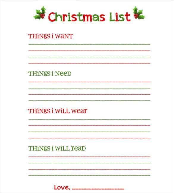 Download Blank Christmas List Free Printable , 24+ Christmas Wish - free christmas word templates