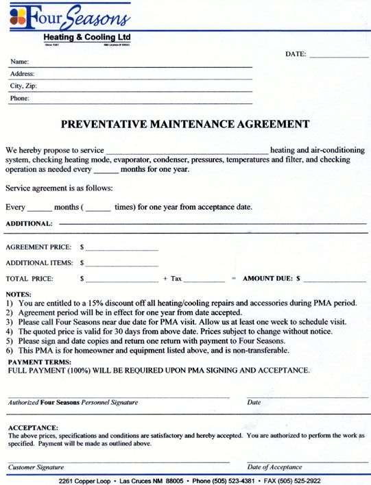 Service Agreement Contract Form - maintenance contract agreement - service contract form