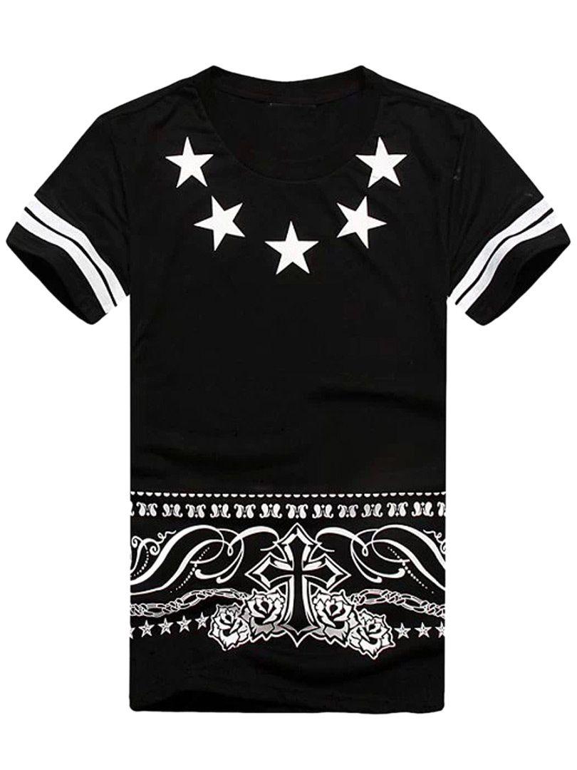 Black star print t shirt with samara 23 in back choies