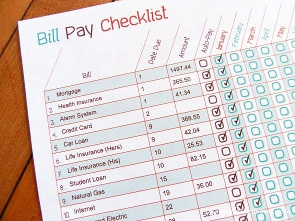 monthly bill pay checklist