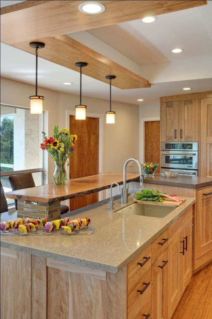 Color Schemes Kitchens With Gray Cabinet Contemporary Kitchen With Quartz Countertops And Red Birch