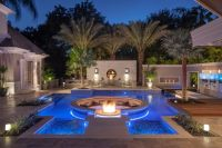 Tropical Pool With Sunken Fire Pit Seating Area | Sunken ...
