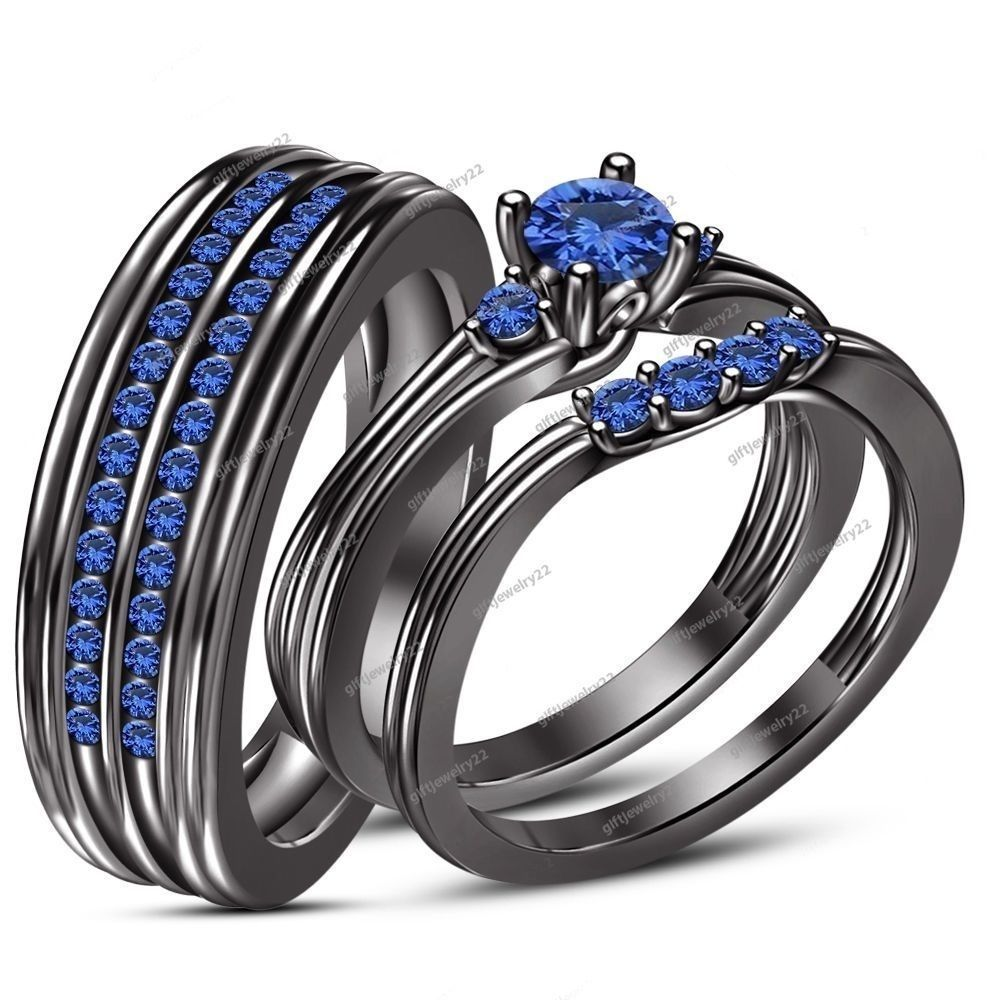 wedding ring sets his her 0 74 ct blue sapphire with 14k download - His And Her Wedding Ring Set